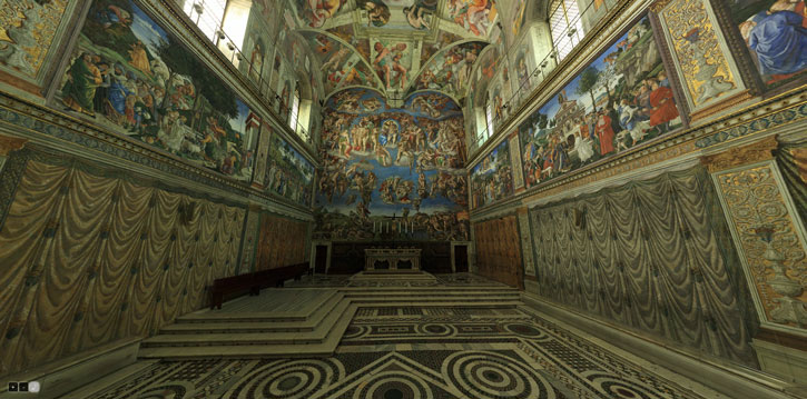 The Vatican's 360 degree photographic virtual reality simulation of the Sistine Chapel.